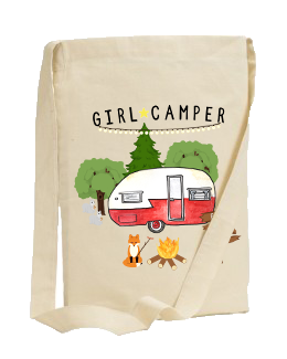 40% BENEFITS HOLDYOU FOUNDATION. GIRL CAMPER SLING TOTE BAG (CHOOSE DESIGN)