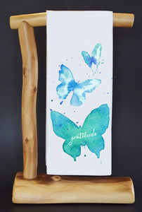 "Gratitude Butterflies 17' x 30"" Dish Towel & Gift Bag Set!"
