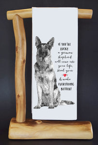 20% Net Proceeds Benefits COASTAL GERMAN SHEPHERD OC. If You're Lucky Dish Towel & Reusable Bag!