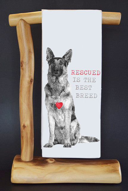 20% Net Proceeds Benefits COASTAL GERMAN SHEPHERD OC. RESCUED IS BEST BREED Dish Towel & Reusable Bag!