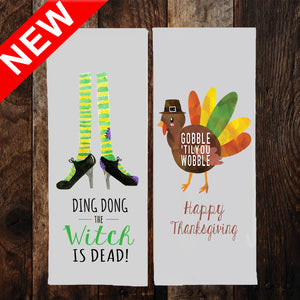 DING DONG WITCH IS DEAD & GOBBLE GOBBLE 2-SIDED DISH TOWEL & GIFT BAG