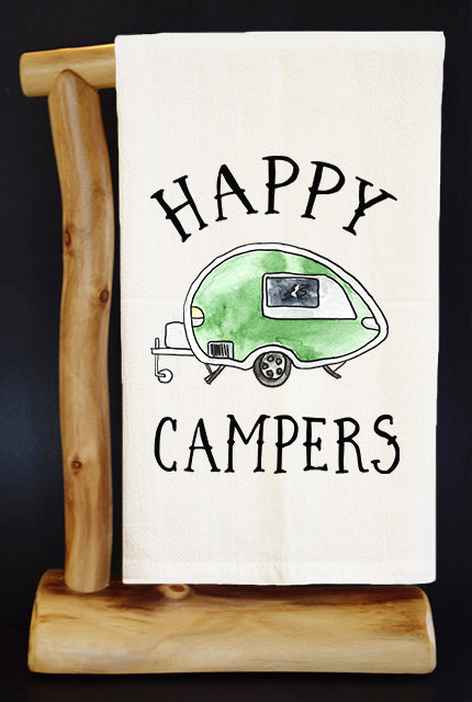 HAPPY CAMPERS Dish Towel & Reusable Bag!