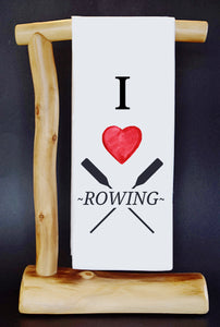 "20% Net Proceeds Benefits Select Charities! I HEART ROWING 17"" x 30"" Dish Towel & Gift Bag Set (choose benefit charity from drop down menu)!"