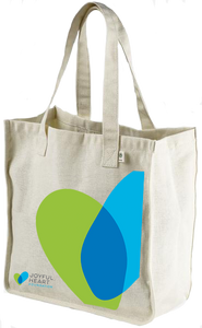 40% NET PROCEEDS BENEFITS THE JOYFUL HEART FOUNDATION • JHF HEMP MARKET TOTE BAG