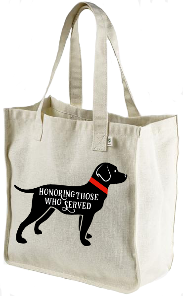40% NET PROCEEDS BENEFITS AMERICA'S VETDOGS • HEMP MARKET TOTE BAG