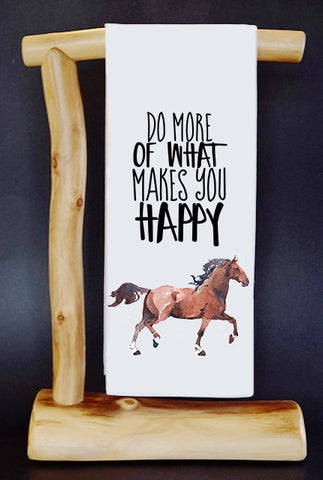 "$5 Benefits HORSE RESCUE. Do What Makes You Happy 17"" x 30"" Dish Towel & Gift Bag Set"