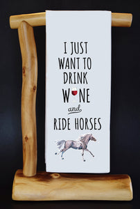 20% Net Proceeds Benefits LUCKY ORPHAN HORSE RESCUE! Drink Wine & Ride Horses Dish Towel & Reusable Bag!