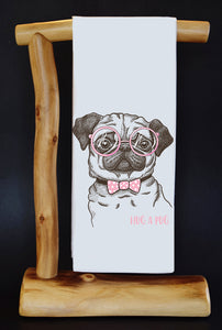 20% Net Proceeds Benefits ANIMAL RESCUE. HUG A PUG Dish Towel & Reusable Bag!