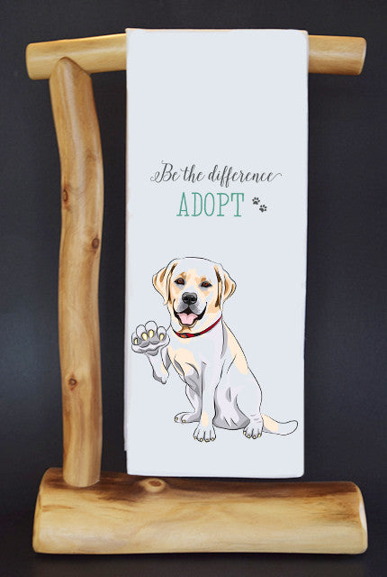 $5 benefits SECOND CHANCE RESCUE NYC! LAB BE THE DIFFERENCE #RescueRagg Dish Towel & Gift Bag.