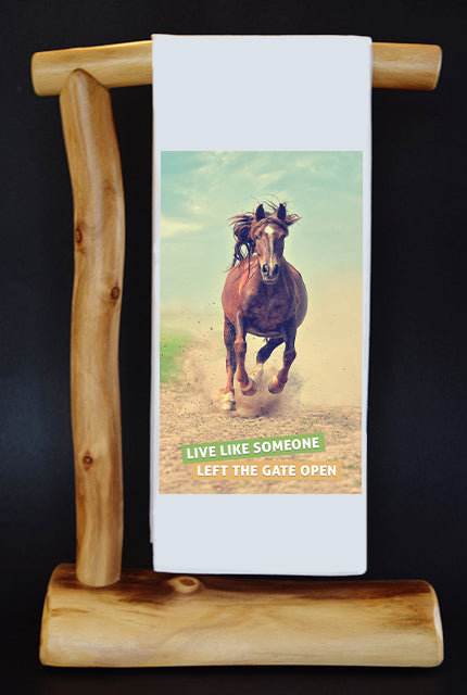 20% Net Proceeds Benefits LUCKY ORPHAN HORSE RESCUE! GATE OPEN Dish Towel & Reusable Bag!