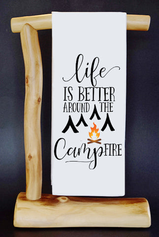 "Life is Better Around The Campfire 17"" x 30"" Dish Towel & Gift Bag Set!"