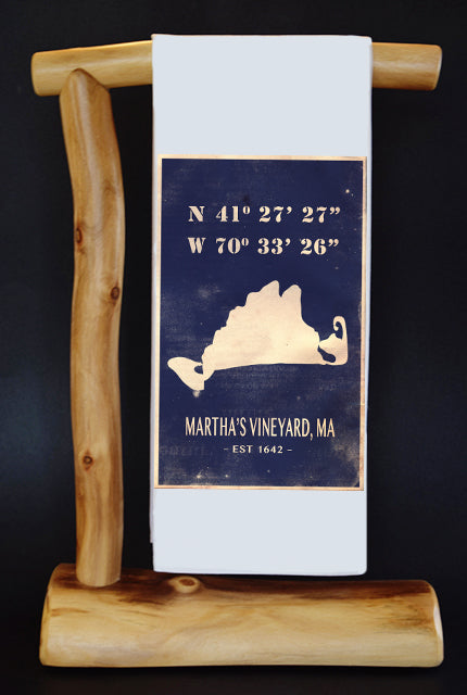 Vintage Martha's Vineyard Latitude & Longitude Dish Towel & Reusable Bag!