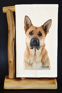 "20% Net Proceeds BENEFITS COASTAL GERMAN SHEPHERD. MILO 28"" x 29"" Premium Flour Sack Dish Towel & Gift Bag"