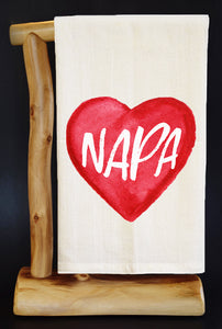 "20% Net Proceeds BENEFITS CA WILDFIRES • NAPA HEART 28"" X 29"" Premium Flour Sack Dish Towel & Reusable Bag!"