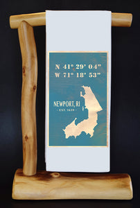 Vintage Newport RI Latitude & Longitude Dish Towel & Reusable Bag!