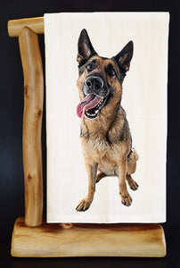 "20% Net Proceeds BENEFITS COASTAL GERMAN SHEPHERD. OLIVE 28"" x 29"" Premium Flour Sack Dish Towel & Bag"