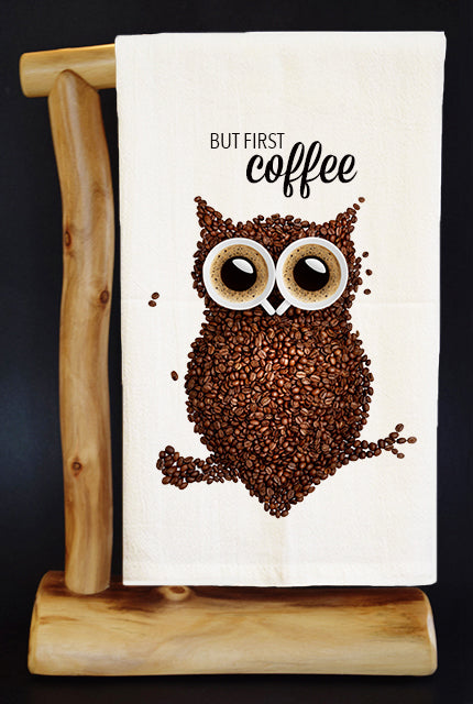 But First Coffee Bean Owl Dish Towel & Gift Bag Set!