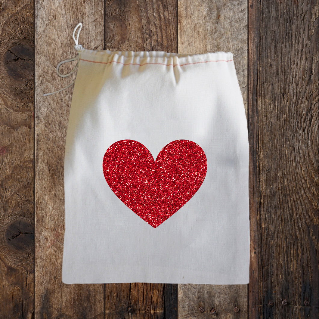 RED GLITTER HEART GIFT BAG