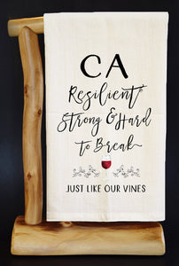 "20% Net Proceeds BENEFITS CA WILDFIRES • STRONG LIKE OUR VINES 28"" x 29"" Premium Flour Sack Dish Towel & Reusable Bag!"