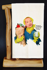 "THERE'S A CHANCE VODKA 28"" X 29"" Premium Flour Sack Dish Towel & Reusable Bag"