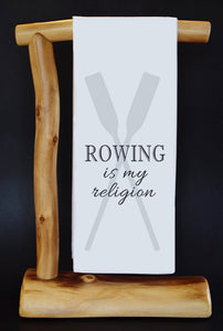 "20% Net Proceeds Benefits Select Charities! Rowing Is My Religion 17"" x 30"" Dish Towel & Gift Bag Set (choose benefit charity from drop down menu)!"