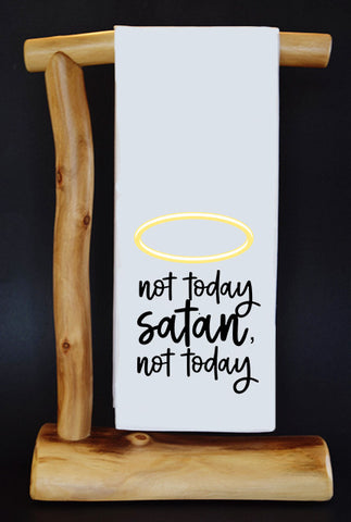 "Not Today Satan, Not Today Halo 17"" x 30"" Dish Towel & Gift Bag"