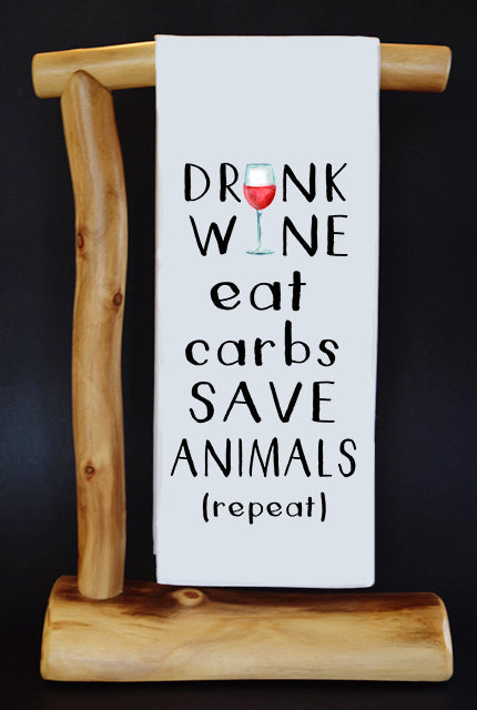 20% Net Proceeds Benefits COASTAL GERMAN SHEPHERD. DRINK WINE EAT CARBS SAVE ANIMALS Dish Towel & Reusable Bag!