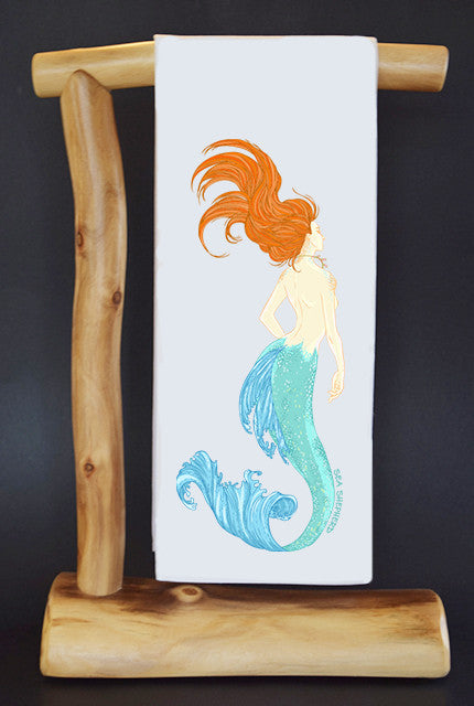 20% Net Proceeds Benefits SEA SHEPHERD CONSERVATION SOCIETY. MERMAID RED MANE Dish Towel & Reusable Bag!