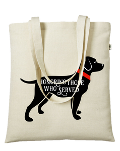40% NET PROCEEDS BENEFITS AMERICA'S VETDOGS • HEMP TOTE BAG