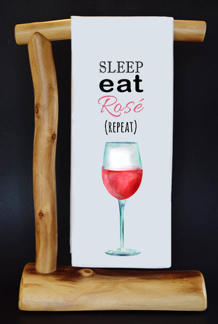 Sleep Eat Rosé Repeat Dish Towel & Reusable Bag!