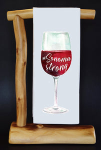 20% Net Proceeds Helps Local Efforts for Victims of the NorCal Wildfires! SONOMA STRONG RED Dish Towel & Reusable Bag!