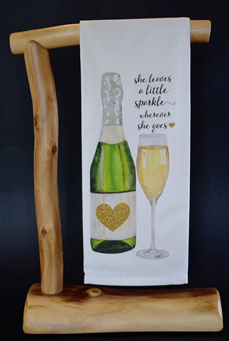 "Champagne: She leaves a little sparkle wherever she goes 17"" x 30"" Dish Towel & Gift Bag Set!"