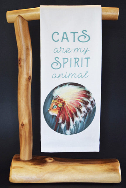 "Cats Are My Spirit Animal 17"" x 30"" Dish Towel & Gift Bag Set!"