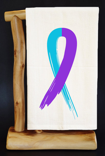 SUICIDE PREVENTION TEAL & PURPLE RIBBON 28