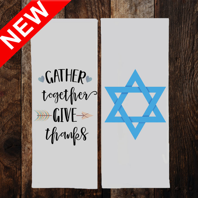 THANKSGIVING & HANUKKAH 2-SIDED Dish Towel & Reusable Bag!