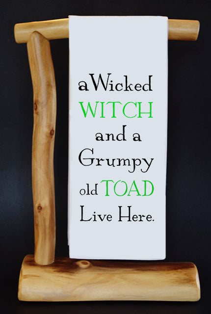 WICKED WITCH & GRUMP TOAD Dish Towel & Reusable Bag!