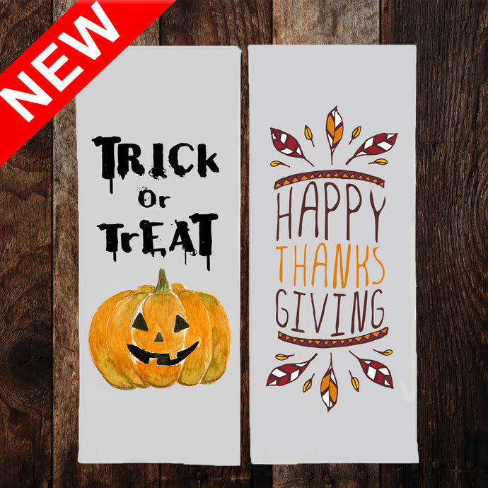 TRICK OR TREAT & HAPPY THANKSGIVING 2-SIDED Dish Towel & Reusable Bag!