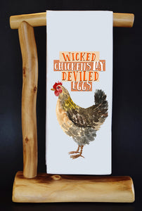 WICKED CHICKENS Dish Towel & Reusable Bag!