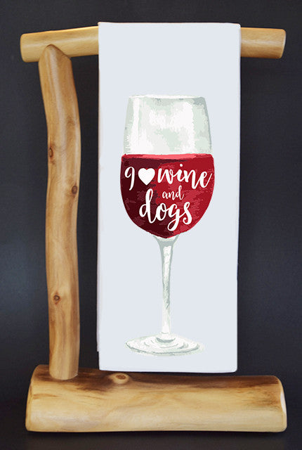 20% Net Proceeds Benefits ANIMAL RESCUE Wine & Dogs Dish Towel & Reusable Bag!