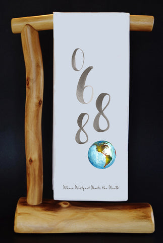 $5 Benefits Dan Woog 06880 Watercolor Globe Dish Towel. Comes with Matching Gift Bag.