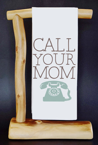 "Call Your Mom 17"" x 30"" Dish Towel & Gift Bag"