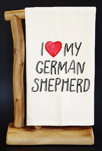 "20% Net Proceeds BENEFITS COASTAL GERMAN SHEPHERD. I HEART MY GERMAN SHEPHERD 28"" x 29"" Premium Flour Sack Dish Towel & Reusable Bag!"