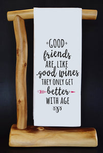 "Good Friends Are Like Good Wines 17"" x 30"" Dish Towel & Gift Bag Set!"