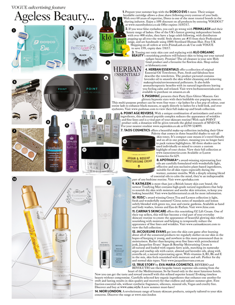 Apothaka rejuvenating face oil in Vogue July 2017