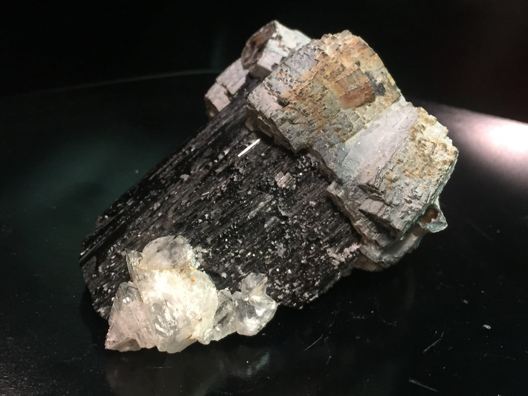 Black Tourmaline with Topaz and Zinnwaldite Namibia