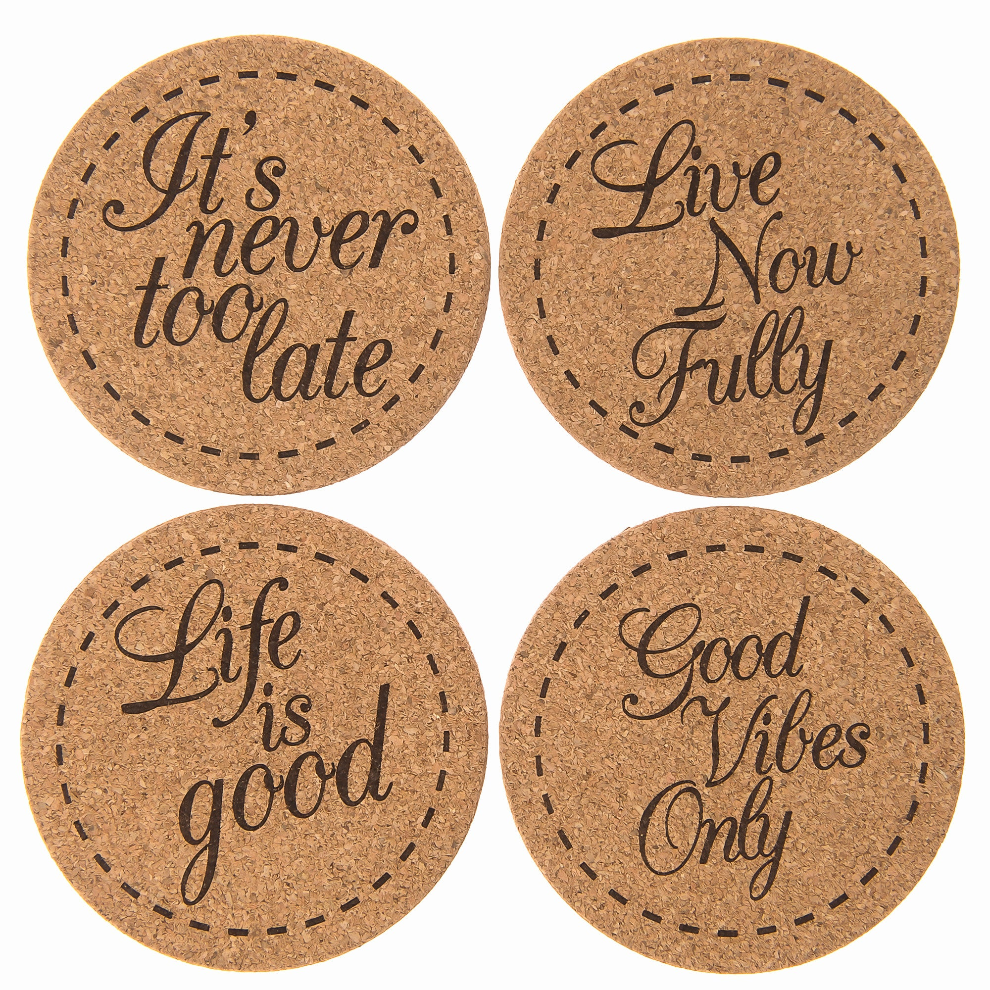 jazzup home – inspirational gifts and home decor - jazzup home drink coasters  inspirational set ( pack)  x large  premiumcork beverage coasters