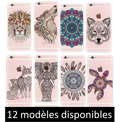Coques Silicone Animaux Mandala Iphone