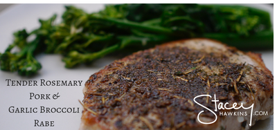 Tender Rosemary Pork Chops and Garlic Broccoli Rabe- Throw Together Thursday