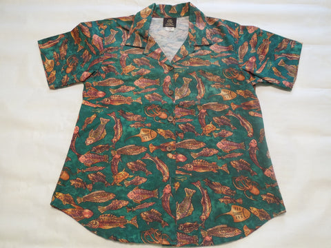 Women's Atlantis Green Hawaiian shirt 10% off Sale!