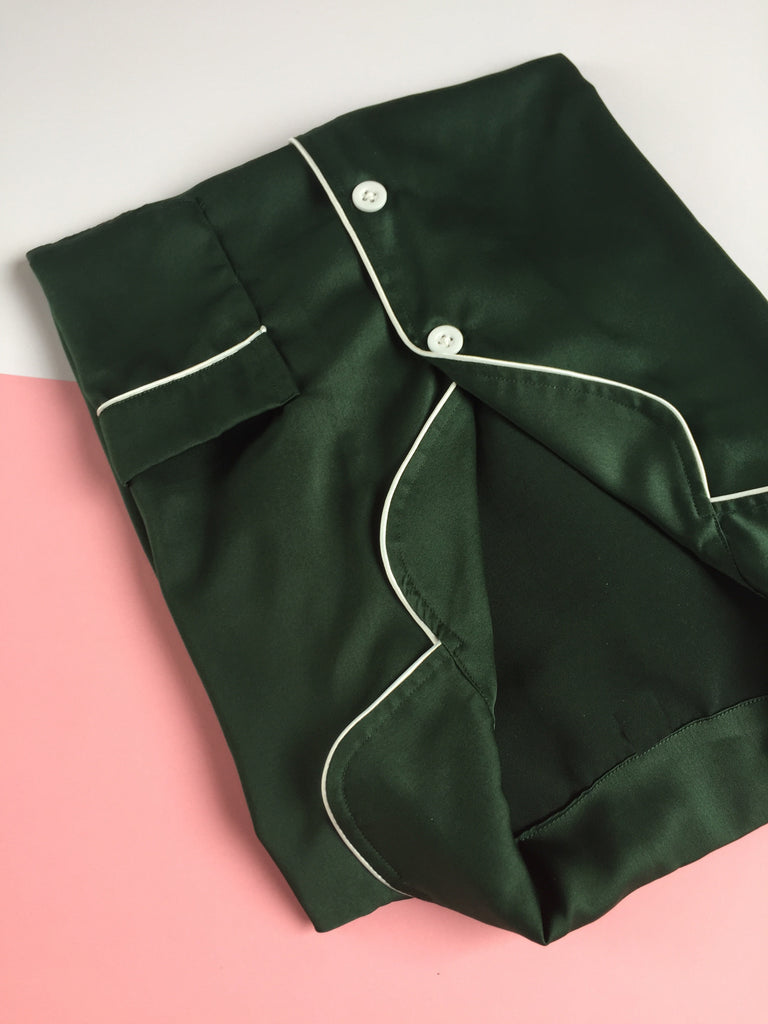 Emerald Green Satin Long Pants